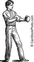 gravure, ouderwetse , bokser, positie