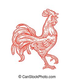 gravure, ouderwetse , illustratie, vector, zwart rood, vurig, rooster.