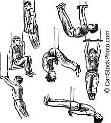 gravure, ouderwetse , trapeze