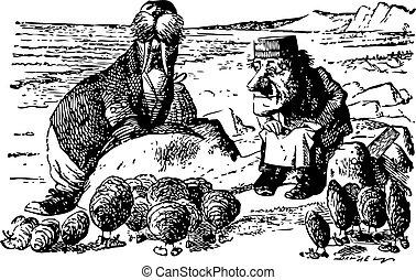 gravure, peu, morse, là, -, quel, charpentier, regarder verre, livre, par, trouvé, huîtres, original, alice