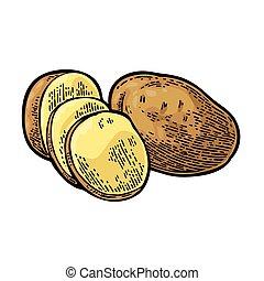 gravure, pomme terre, vendange, vecteur, slice., entier