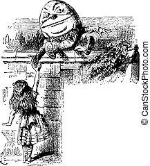 gravure, quel, humpty dumpty, là, -, alice, regarder verre, livre, par, trouvé, original