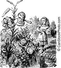 gravure, quel, jardin, là, -, alice, regarder verre, vivant, livre, par, trouvé, fleurs, original