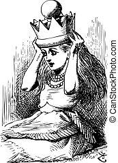 gravure, quel, -, là, couronne, alice, regarder verre, livre, par, trouvé, original