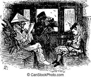 gravure, quel, train, là, -, alice, regarder verre, livre, par, trouvé, original