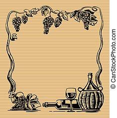 gravure, raisins, fields., villa, vendange, vignoble, verre, tas, rural, vin., bouteille, paysage, cruche