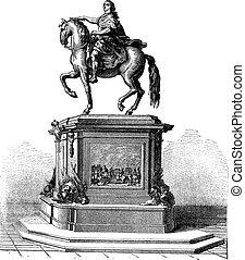 gravure, roi, louis, france, statue, vendange, xv, bronze