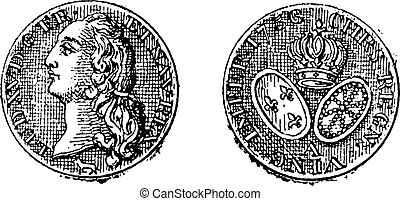 gravure, roi, or, louis, monnaie, vendange, xv