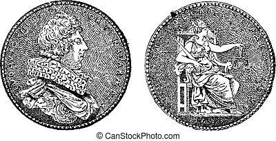 gravure, roi, vendange, projection, france, xiii, louis, médaille