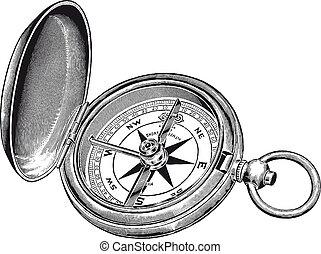 gravure, rose, vendange, détail, élevé, vecteur, compas