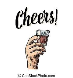 gravure, rum., affiche, vendange, illustration, main, verre, vecteur, étiquette, tenue, invitation, fête, mâle