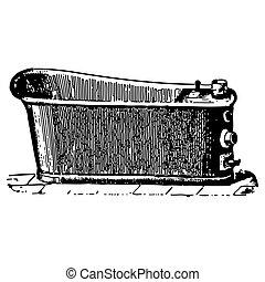 gravure, salle bains, baquet, vendange, trempage
