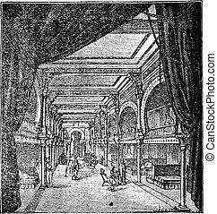 gravure, salle, vendange, période, repos, romain
