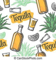 gravure, sel, vecteur, affiche, verre, vendange, tequila, seamless, toile, arrière-plan., botlle, étiquette, illustration, verre, invitation, modèle, blanc, cactus, partie., chaux