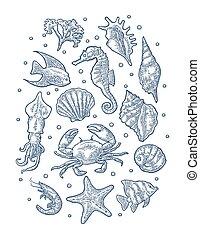 gravure, set, ouderwetse , vrijstaand, vector, zee, animal., illustraties, monochroom, witte
