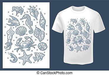 gravure, set, ouderwetse , vrijstaand, vector, zee, animal., monochroom, witte