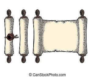 gravure, set, vrijstaand, achtergrond., vector, zeehondje, witte , boekrol