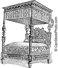 gravure, siècle, vendange, national, âges, paris, lit, 16ème, france, milieu, musée