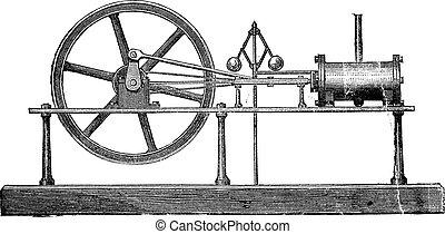gravure, simple, vendange, expansion, moteur, vapeur