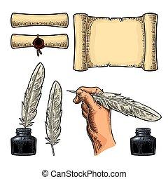 gravure, tenue, encrier, main, oie, feather., vecteur, femme