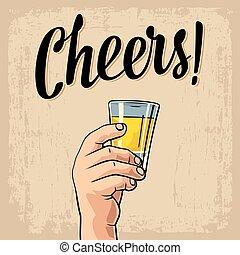 gravure, tequila., affiche, vendange, illustration, main, verre, vecteur, étiquette, tenue, invitation, fête, mâle