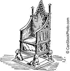 gravure, trône, vendange