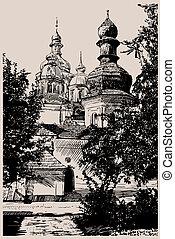 gravure, ukrainien, monastère, kiev, numérique, dessin, mihaylovskiy, église, style.