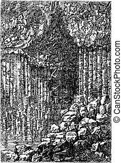 gravure, uni, staffa, vendange, caverne, fingal's, royaume, ecosse