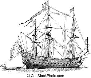gravure, vendange, bateau, francais, soleil-royal