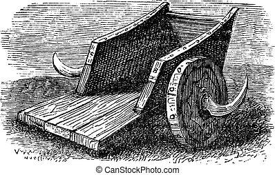 gravure, vendange, Gaulois, Char, ou