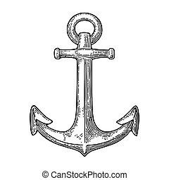 gravure, vendange, isolé, illustration, arrière-plan., vecteur, noir, anchor., blanc