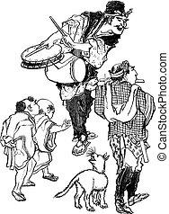 gravure, vendange, -, japonaise, acrobates, caricature