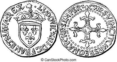gravure, vendange, monnaie, france, xiii, louis, monnaie