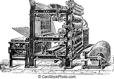 gravure, vendange, rotatif, presse, marinoni