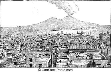 gravure, ville, campanie, italie, vendange, naples
