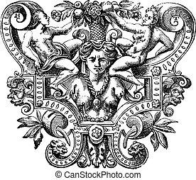 gravure, vitale, basilique, art, byzantin, ravenne, italie, projection, objet, figures, humain, vendange, san