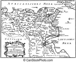 gravyr, antikvitet, nordlig, karta, årgång, afrika, tajmar, romersk, vektor, kejsardöme, teckning, eller