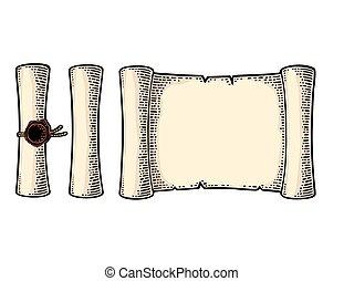 gravyr, sätta, isolerat, bakgrund., vektor, försegla, vit, rulla