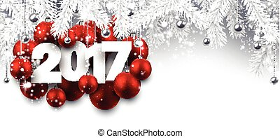 Gray 2017 New Year banner. - 2017 New Year banner with red...