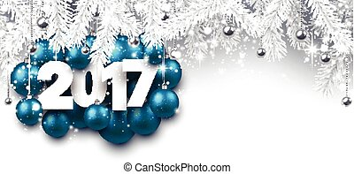 Gray 2017 New Year banner. - 2017 New Year banner with...