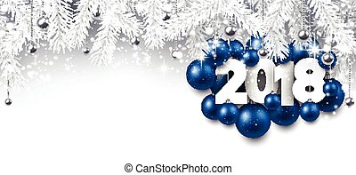 Gray 2018 New Year banner. - 2018 New Year banner with blue...