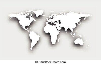 Gray 3d world map.