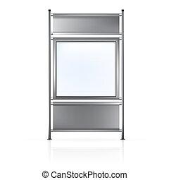gray acciaio, manichino, schermo, lato, ads:, isolato, su, scuro, fondo., vettore, poli, sagoma, vuoto, pronto, collegato, bianco, bandiera, rotolo, design.