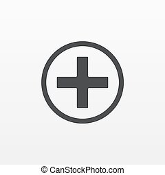 Gray Add Plus icon isolated on background. Modern flat pictogram, business, marketing, internet conc