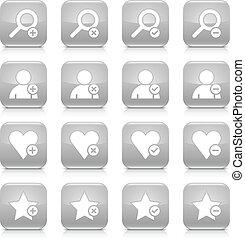 Gray additional sign square icon web button