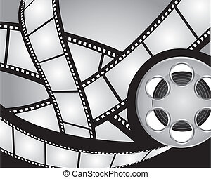 gray and black films strips and video film background. vector