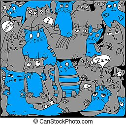Gray and blue cats on black.