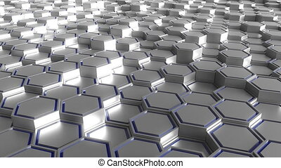 Gray and blue hexagonal prisms