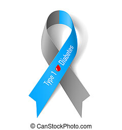 Gray and blue ribbon with blood drop as symbol of diabetes...