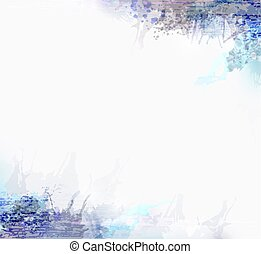 Gray and blue watercolor stains. Design element for abstract artistic background.